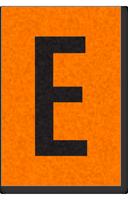 Engineer Grade Vinyl, 1 Inch Letter, Black on Orange, E