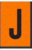 Engineer Grade Vinyl, 1 Inch Letter, Black on Orange, J
