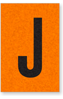 Engineer Grade Vinyl, 1 Inch Letter, Black on Orange, J