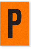 Engineer Grade Vinyl, 1 Inch Letter, Black on Orange, P