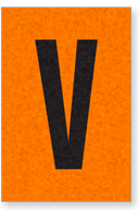 Engineer Grade Vinyl, 1 Inch Letter, Black on Orange, V