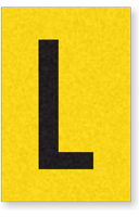 Engineer Grade Vinyl, 1 Inch Letter, Black on Yellow, L