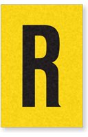 Engineer Grade Vinyl, 1 Inch Letter, Black on Yellow, R