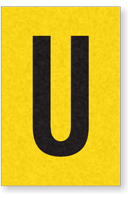 Engineer Grade Vinyl, 1 Inch Letter, Black on Yellow, U