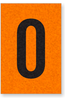 Engineer Grade Vinyl, 1 Inch Number, Black on Orange, 0