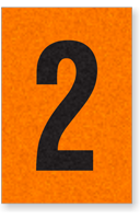 Engineer Grade Vinyl, 1 Inch Number, Black on Orange, 2