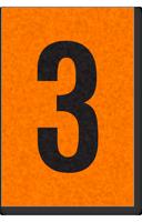 Engineer Grade Vinyl, 1 Inch Number, Black on Orange, 3