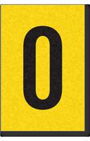 Engineer Grade Vinyl, 1 Inch Number, Black on Yellow, 0