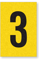 Engineer Grade Vinyl, 1 Inch Number, Black on Yellow, 3