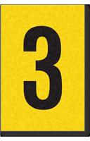 Engineer Grade Vinyl, 1 Inch Number, Black on Yellow, 3