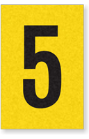 Engineer Grade Vinyl, 1 Inch Number, Black on Yellow, 5