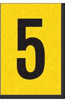Engineer Grade Vinyl, 1 Inch Number, Black on Yellow, 5