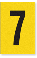 Engineer Grade Vinyl, 1 Inch Number, Black on Yellow, 7