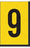 Engineer Grade Vinyl, 1 Inch Number, Black on Yellow, 9