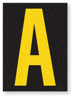 Engineer Grade Vinyl, 1.5 Inch Letter, Yellow on Black A