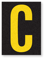 Engineer Grade Vinyl, 1.5 Inch Letter, Yellow on Black C