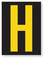 Engineer Grade Vinyl, 1.5 Inch Letter, Yellow on Black H