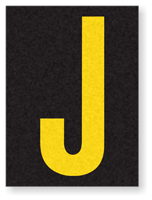 Engineer Grade Vinyl, 1.5 Inch Letter, Yellow on Black J