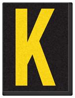 Engineer Grade Vinyl, 1.5 Inch Letter, Yellow on Black K