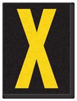 Engineer Grade Vinyl, 1.5 Inch Letter, Yellow on Black X