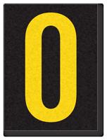 Engineer Grade Vinyl, 1.5 Inch Number, Yellow on Black 0