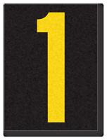 Engineer Grade Vinyl, 1.5 Inch Number, Yellow on Black 1
