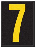 Engineer Grade Vinyl, 1.5 Inch Number, Yellow on Black 7