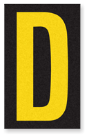 Engineer Grade Vinyl, 2.5 Inch Letter, Yellow on Black D