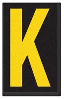Engineer Grade Vinyl, 2.5 Inch Letter, Yellow on Black K