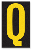Engineer Grade Vinyl, 2.5 Inch Letter, Yellow on Black Q
