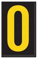 Engineer Grade Vinyl, 2.5 Inch Number, Yellow on Black 0