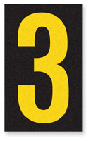 Engineer Grade Vinyl, 2.5 Inch Number, Yellow on Black 3