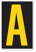 Engineer Grade Vinyl, 3.75 inch Letter, Yellow on Black, A