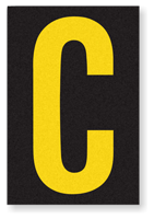 Engineer Grade Vinyl, 3.75 inch Letter, Yellow on Black, C