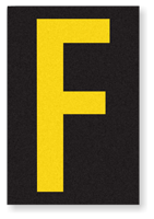 Engineer Grade Vinyl, 3.75 inch Letter, Yellow on Black, F