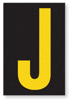 Engineer Grade Vinyl, 3.75 inch Letter, Yellow on Black, J
