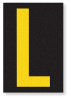 Engineer Grade Vinyl, 3.75 inch Letter, Yellow on Black, L