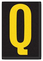 Engineer Grade Vinyl, 3.75 inch Letter, Yellow on Black, Q