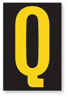 Engineer Grade Vinyl, 3.75 inch Letter, Yellow on Black, Q