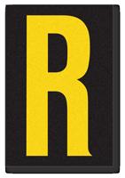 Engineer Grade Vinyl, 3.75 inch Letter, Yellow on Black, R