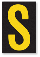 Engineer Grade Vinyl, 3.75 inch Letter, Yellow on Black, S