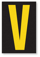 Engineer Grade Vinyl, 3.75 inch Letter, Yellow on Black, V