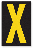 Engineer Grade Vinyl, 3.75 inch Letter, Yellow on Black, X