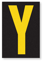 Engineer Grade Vinyl, 3.75 inch Letter, Yellow on Black, Y