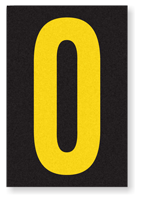 Engineer Grade Vinyl, 3.75 inch Number, Yellow on Black, 0
