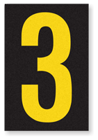 Engineer Grade Vinyl, 3.75 inch Number, Yellow on Black, 3
