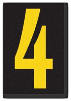 Engineer Grade Vinyl, 3.75 inch Number, Yellow on Black, 4