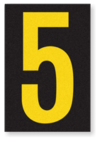 Engineer Grade Vinyl, 3.75 inch Number, Yellow on Black, 5
