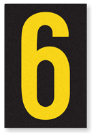 Engineer Grade Vinyl, 3.75 inch Number, Yellow on Black, 6