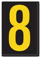 Engineer Grade Vinyl, 3.75 inch Number, Yellow on Black, 8